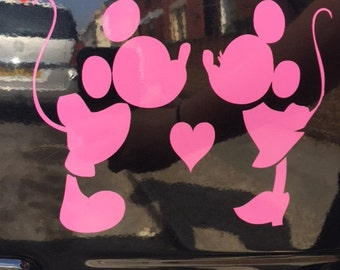 Pink Mickey & Minnie Mouse Kissing Vinyl Decal Sticker Car, Laptop
