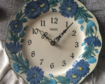 Hand Painted Stangl - Verichron Wall Clock - Blue Flowers