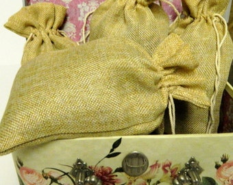 Lavender buds Burlap sachet 5X9- New- Fresh Dried Lavender buds filled bags- Rustic Weddings, Bridal parties-Shabby Chic Decor-Free Shipping