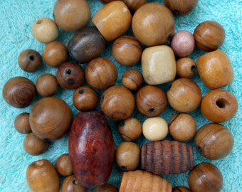 50+ Assorted Wooden Beads of Various Shapes and Sizes Perfect for Craftsx
