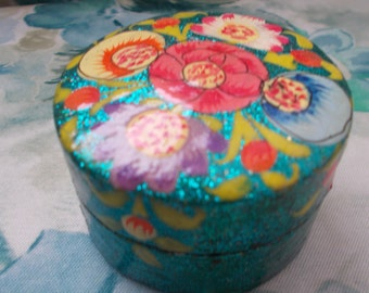 Hand-Made Kitsch Indian Floral style Turqouise Trinket Jewellery Box