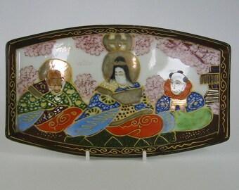 Vintage porcelain Dai Nippon Japanese Satsuma style tray / trinket dish