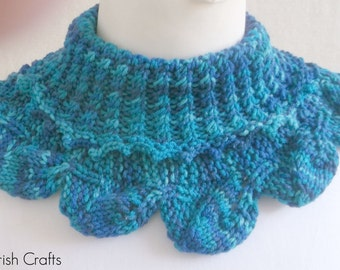 Hand Knit Neck Warmer. In shades of Blue.