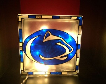 Penn State Nittany Lions stained glass block with lights