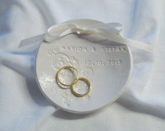 Personalized wedding ring dish, personalized white ring bowl
