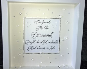 Bespoke Personalised 3D 'True Friends Are Like Diamonds' Sparkle Box Frame, Birthday, Christmas, Gift