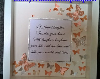 Granddaughter 3d Personalised Wall Art Frame With Gorgeous Butterflies Handmade. Perfect Gift!! Christmas