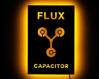 Lighted Flux Capacitor Sign - Back to the Future Wall Art - Illuminated Flux Capacitor Wall Hanging Art