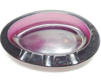 Vintage Ashtray, Glass Ashtray, Purple Ashtray, Amethyst Ashtray, Purple Glass Ashtray, Pipe Tray, Tobacciana