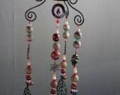 Gypsy boho pretty mobile art decorative hanging great gift lovely art hanging unique room decor beautiful pendants beads bells decor art