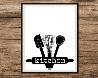 Kitchen Utensils Digital Print | Instant Download
