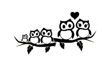 Owl Family Vinyl Decal