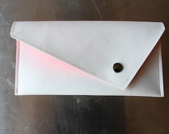 Envelope - white faux leather vegan pouch