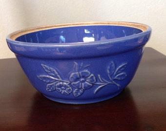 Vintage Blue Stoneware Casserole Dish