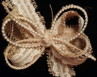 Vintage Inspired Burlap Lace and Pearl Hair Bow Barn Wedding Country Flower Girl Hairbow