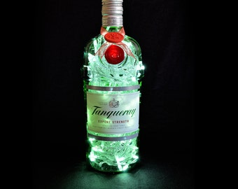 Tanqueray Export Strength Dry Gin Upcycled LED Bottle Lamp Light by JayEngrave