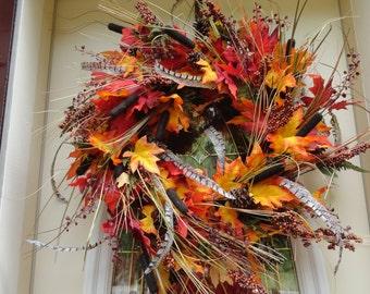 Autumn Floral Wreath, Autumn Floral Grapevine Wreath, Autumn Floral Door Hanger