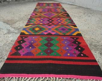 385 x 97 cm / 12.7 x 3.2 ft,Kilim Rug,Rug Runner,Long Rug Runner,Aztec Rug,Turkish Rug,Runner Handspun Pure Wool Rug Handmade,FREE SHIPPING!