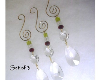 Set of 3 Lamp Crystal Teardrop Crystals Topped with  Red and Chartreuse Beads  - No. 329