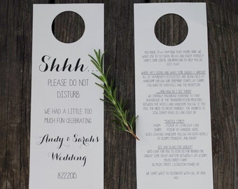 "Custom ""Do Not Disturb"" wedding door signs//Downloadable PDF"