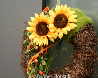 "Door wreath ""large sunflowers"""