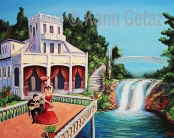 wall art print, tropical art print, Queensland art, australian art, tropical landscape, impressionist art, spanish flamenco art, love art