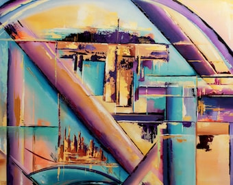 abstract art print, abstract wall decor, abstract painting, purple and blue art, matted art print, karin getaz art, abstract cityscape