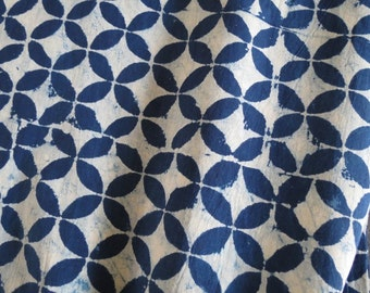 Indigo Hand Block Printed Fabric by the yard