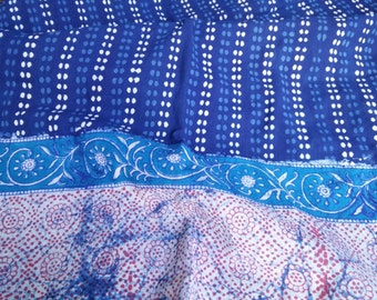 Indigo Bordered Fabric by the metre