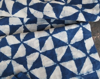 Indigo triangles Block Printed Fabric by the yard