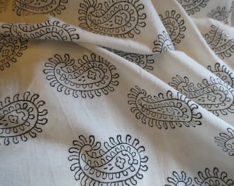 Paisley design hand printed fabric