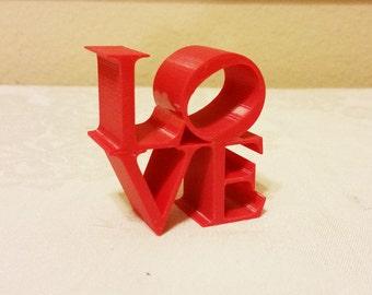 Love Statue, Philadelphia Love Icon, Love Art, Love Ornament, 3D Printed Love Figurine, Red Love Ornament, Love Figurine, Love Decor, Love