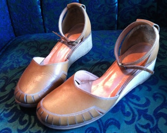 1940's wedge leather and wood, rockabilly, pin up, WW2