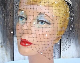 Glamourous Swarovski Bling Fleur-de-lis Vintage Black Birdcage Party Veil