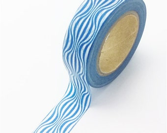 Washi Tape, Blue and White Waves, 15mm x 10m