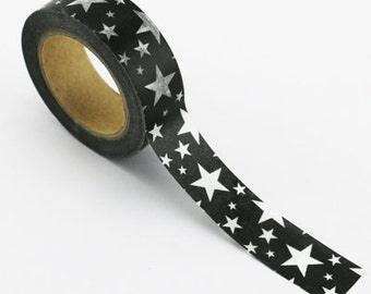 Washi Tape, Black with White Stars, 15mm x 10m