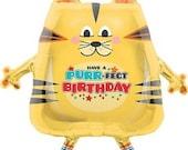 "Cat birthday Balloon, banner balloon , party decor, Mylar balloons, Party/Wedding supplies, 32"" inch balloon"