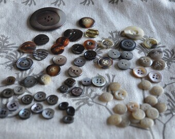 Assorted Vintage Shell and Faux-shell Buttons - 67 pieces in total