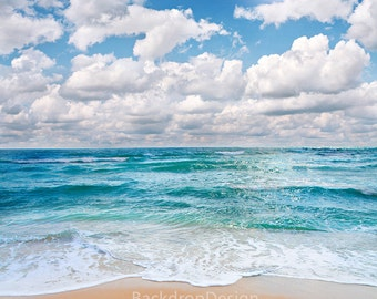 Sea Beach Backdrop - chic seaside, blue sky, white cloud, summer, tropical ocean - Printed Fabric Photography Background P0011