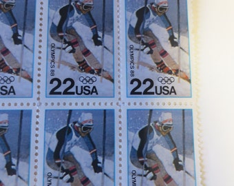 Olympic Postage Stamp, Block of Four, 1988 Olympics