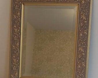 Wall mirror, decorative wall mirror, ornate gold leaf effect