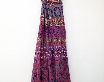 70s Boho Hippie Indian Wrap Maxi Skirt
