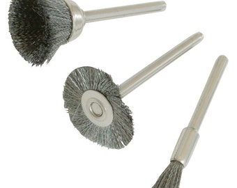 3PC Steel Wire Wheel Cut And Flat Brushes, for Mini Rotary Drill. 580466