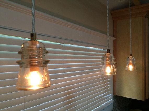 Items similar to vintage glass insulator pendant light on etsy for Antique insulator pendant lights