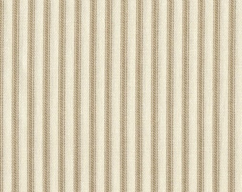 Shower Curtain Linen Beige Ticking Stripe