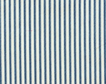 Shower Curtain Nautical Blue Ticking Stripe