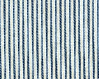 Shower Curtain Nautical Blue Ticking Stripe