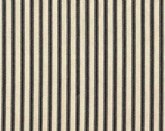 Rod-Pocket Curtain Panels Black Ticking Stripe