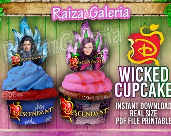 Disney Descendants Awesome Cupcake Toppers and Wrappers, Descendants Birthday Party Supplies, Cupcake, Cupcake Toppers, Descendants Party