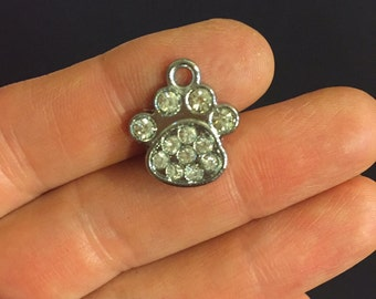 SALE ***5 Antique Silver Tone Chrome Plated Paws Charms With Crystals Size:18 x 15mm Worldwide shipping - A116N